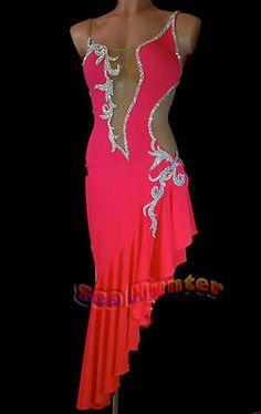 Competition Salas Rumba Latin Rhythm Dance Dress US 4 UK 6 Flesh Red Sliver