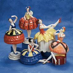 "German Porcelain Half Doll ""Lady in Blue Mask"" as Dresser Box 9"" (23 cm.) Porcelain half doll depicts a slender lady in masquerade costume h..."