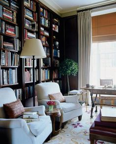 thefoodogatemyhomework: Dark and handsome library by Timothy Whealon is brightened by an abundance of natural light. Love the freshness of the topiary tree tucked in the corner as well. (via TumbleOn)