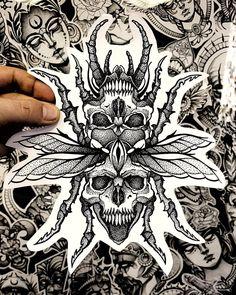 Ozzy Tattoo, X Tattoo, Tattoo Sketches, Tattoo Drawings, Blackwork, Japanese Flower Tattoo, Beetle Tattoo, Dot Work Tattoo, Detailed Drawings