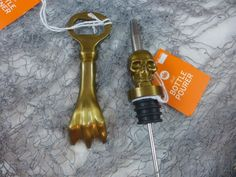 Halloween Skull & Talon Bottle Stopper Poure & Bottle Opener Metal Gold New