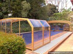Outdoor swimming pool enclosure.