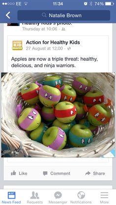Health fun food for kids - super heroes / TNMT turtles apples