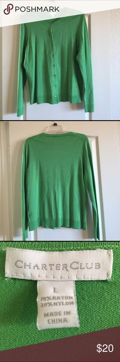Women's lime green button down sweater Never worn women's Sz L button down green sweater Charter Club Sweaters Cardigans