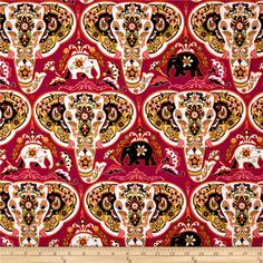 Bombay Elephants Heads Pink from @fabricdotcom  From Andover Fabrics, this cotton print is perfect for quilting, apparel and home decor accents. Colors include pink, black, green, white and coral.