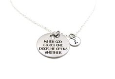 When God Closes One Door He Opens Another Necklace, Religious Necklace, Cross Necklace, Christian Necklace Bible Verse, Custom Necklace