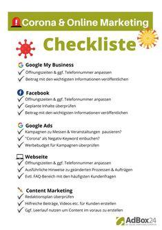 Corona Online Marketing Checkliste zum Download Content Marketing, Online Marketing, Performance Marketing, Im Online, Local Seo, Google Ads, Facebook, Business Ideas, Budgeting
