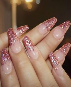 Pink glitter tip nails nails pink nails nail art manicure glitter nails nail ideas nail designs nail pictures Clear Acrylic Nails, Pink Glitter Nails, Nails With Glitter Tips, Pink Tip Nails, Sparkly Nails, Glitter Top, Glitter Wine, Glitter Letters, Pink Sparkly