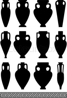 Set of black silhouettes of ancient amphorae and vases, traditional Greek  abstract meander pattern - isolated illustration on white background |  Stock Vector | Colourbox