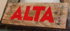 ALTA Ski Resort Pallet Art. HANDPAINTED. by CryptobioticDesigns