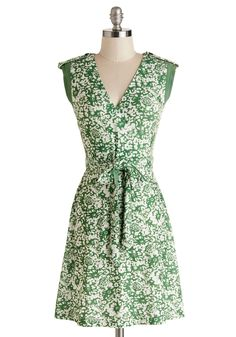 Earthen Errands Dress. Whether youre heading to the garden store or the farmers market, this lightweight patterned dress - available for purchase in May - will keep you comfy while youre perusing for plants! #green #modcloth