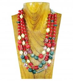 Coral and green 3 string gemstone necklace