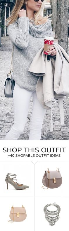 #winter #fashion /  Grey Knit / White Skinny Jeans / Laced Up Flats