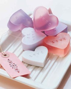 Stamped soaps, inspired by candy conversation hearts, are great gifts for friends.
