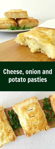 Cheese, onion and potato pasties make an ideal snack whenever you feel peckish. A very quick recipe that is so delicious.- Use vegan cheese, and use frylight instead of brushing the pastry. Savory Pastry, Puff Pastry Recipes, Savoury Pies, Cheese And Onion Pasty, Cheese And Potato Pie, Vegetarian Recipes, Cooking Recipes, Vegetarian Pasties, English Food