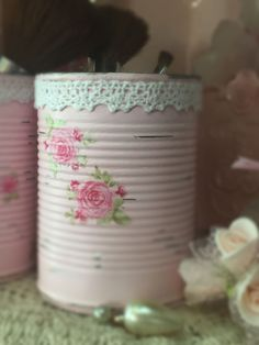 2 Pink Shabby Chic Vanity Desk Set Painted Tin Cans Vases Decoupage Roses Rosebud Wedding Reception Decor Centerpieces by Sweet Vintage Designs Description: This is for two pink handpainted recycled tin cans that are decoupaged with roses and rosebuds. One can will have decoupage roses all around the can and one can will have two roses decoupaged only on the front. White lace trim is adorned around the rim. Uses are endless! Flower vases, vanity or desk set, storage, nursery, dorm or home…