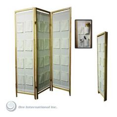 3-panel Fabric Room Divider With Pocket Holders