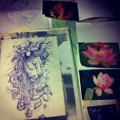 Absolutely love this lion tattoo design but instead maybe stephanotis flowers as an accent to sunflowers or peonies