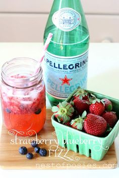 Many combinations of fizzy water and fruits, berries, and herbs.