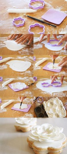 How to make all kinds of flowers with fondant for cakes, cakes and cupcakes - The How of Things Icing Flowers, Fondant Flowers, Sugar Flowers, Cookie Tutorials, Cake Decorating Tutorials, Cookie Decorating, Fondant Flower Tutorial, Cake Tutorial, Fondant Cakes