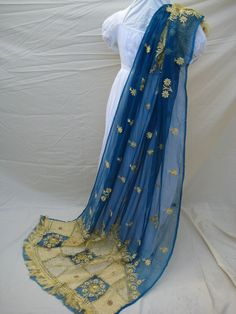 English Regency embroidery   Antique Indian Shawl/Stole. Regency Style Blue Silk Chiffon. AMAZING ...Jane's seafaring brother may have brought one home for her.