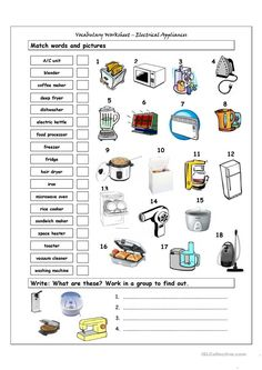 Food worksheets accounting make matching worksheet match picture word a online esl vocabulary pdf Kitchen Utensils Worksheet, Kitchen Utensils List, Vocabulary List, Vocabulary Worksheets, Printable Worksheets, Printables, Retro Appliances, Kitchen Appliances, Slate Appliances