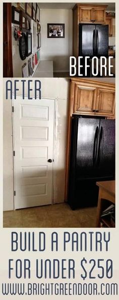 Tips For Building Kitchen Pantry On A Budget Diy Pantry Pantry Closet Next To Refrigerator Closet In Kitchen How To Build A Pantry Framed Pantry With A Door Building Kitchen Pantry On A Budget Budget Kitchen Remodel, Kitchen On A Budget, Diy On A Budget, Diy Kitchen, Kitchen Ideas, Kitchen Decor, Pantry Ideas, Kitchen Hacks, Kitchen Designs