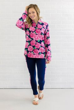 Pretty Floral Print Pullover- Pink Long Sleeve Cotton Half Zip Pullover- $44- Juliana's Boutique