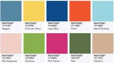 Coleção Primavera - Verão Pantone 2017/2018, com as cores Niagara, Primrose Yellow, Lapis Blue, Flame, Island Paradise, Pale Dogwood, Greenery, Pink Yarrow, Kale e Hazelnut