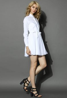 Blissful Tulle Shirt Dress in White - Retro, Indie and Unique Fashion