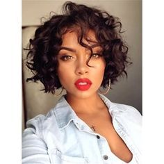 Bob Hairstyle Short Curly Synthetic Hair Capless African American Women Wigs 8 Inches: M.Wigsbuy.com