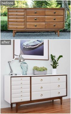 before after la period mid century modern dresser, painted furniture, repurposing upcycling Refurbished Furniture, Paint Furniture, Repurposed Furniture, Furniture Projects, Furniture Makeover, Home Furniture, Furniture Buyers, Western Furniture, Furniture Websites