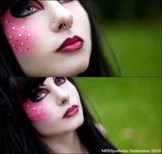 MISSynthetic - Heart Our Style - alternative black hair makeup piercings red Black Hair Makeup, Pop Art Makeup, Crazy Makeup, Makeup Looks, Eye Makeup, Halloween Makeup For Kids, Kids Makeup, Halloween Ideas, Makeup Ideas