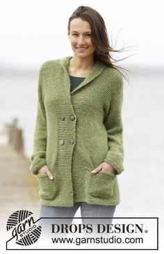"""Knitted DROPS jacket with garter st and shawl collar in """"Air"""". Size: S - XXXL. ~ DROPS Design"""