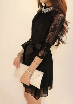 Heavy Rotation Dress - Crop Lace Sleeves