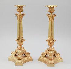 Par de castiçais Franceses em bronze gilded a ouro da primeira metade do séc.19th, Imperio, 33cm de altura, 4,710 USD / 4,320 EUROS / 19,090 REAIS / 30,955 CHINESE YUAN soulcariocantiques.tictail.com