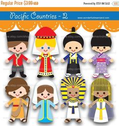 50% Off Sale Children of the World Pacific by clipartsuperstore