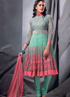 $100.21 Blue 3/4 Sleeve Net Knee Length Anarkali Salwar Kameez 21272