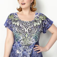 Embellished Scroll Print Sublimation Tee-Plus Size Tee-Avenue
