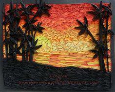 Quilled-Landscape-Picture-sunset&silhouette Paysage nuit et palmiers