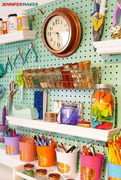 Craft Room Pegboard Accessory Ideas Jennifer Maker - DIY Home Decor Pegboard Craft Room, Pegboard Display, Painted Pegboard, Pegboard Organization, Craft Room Storage, Shed Storage, Pegboard Garage, Kitchen Pegboard, Organization Ideas