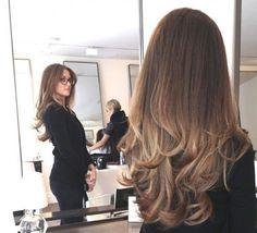 balayage hair - dark brown to dark blonde.
