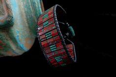 Black Leather Single Wrap with Mahogany and Mist Tila Beads