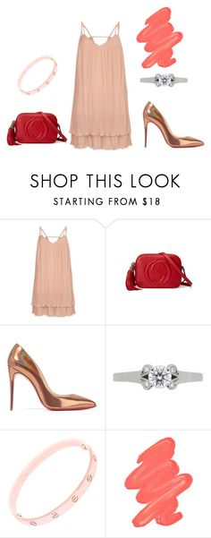 """Engagement dinner"" by maryb96 on Polyvore featuring moda, River Island, Gucci, Christian Louboutin, Cartier i Obsessive Compulsive Cosmetics"