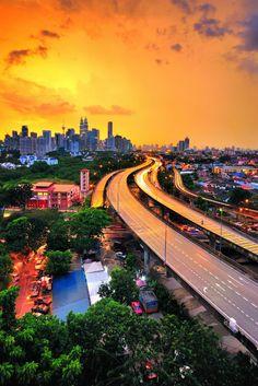Kuala Lumpur skyline at sunset. #Malaysia #KualaLumpur