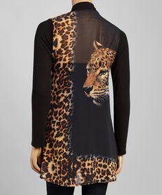 This Black Leopard Open Cardigan is perfect! #zulilyfinds