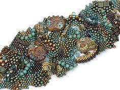 Free form peyote sea treasures bracelet | Eclectica Beads