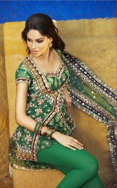 Heavy Sherwani style churidar with stretch leggings. Heavy Zardosi, sequins and Swaroski work on Pure banarasi Fabric in Emerald Green color. Net Dupatta