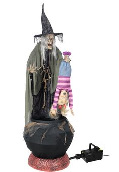 Animated Stew Brew Witch Prop with Fog Machine