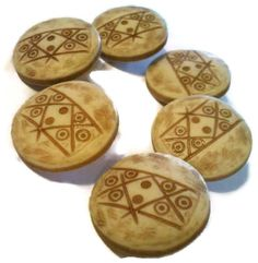 6 tan buttons by CRAZYBUTTONDESIGNS13 on Etsy, $2.50